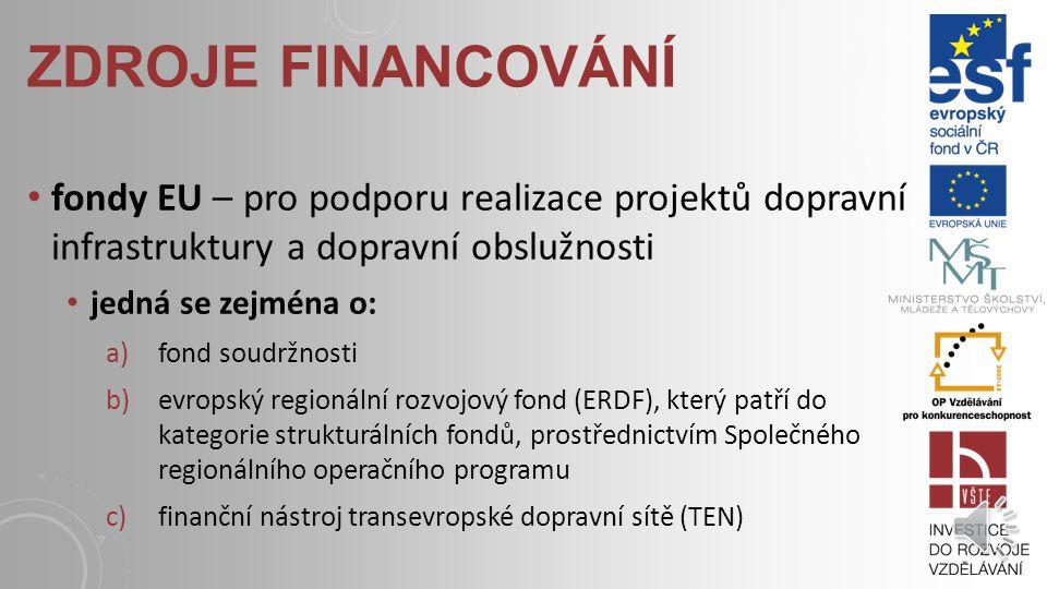 ZDROJE FINANCOVÁNÍ veřejné rozpočty – hlavním zdrojem financování bude i nadále zejména státní rozpočet prostřednictvím SFDI, v případě místních sítí