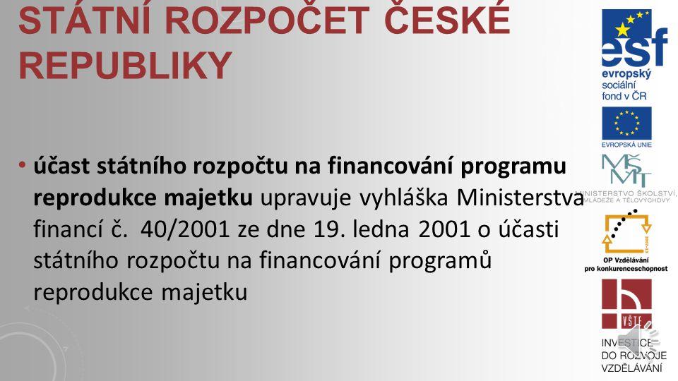 STÁTNÍ ROZPOČET ČESKÉ REPUBLIKY výdaje státního rozpočtu upravuje zákon č. 218/2000 Sb. ze dne 27. června 2000 o rozpočtových pravidlech a o změně něk