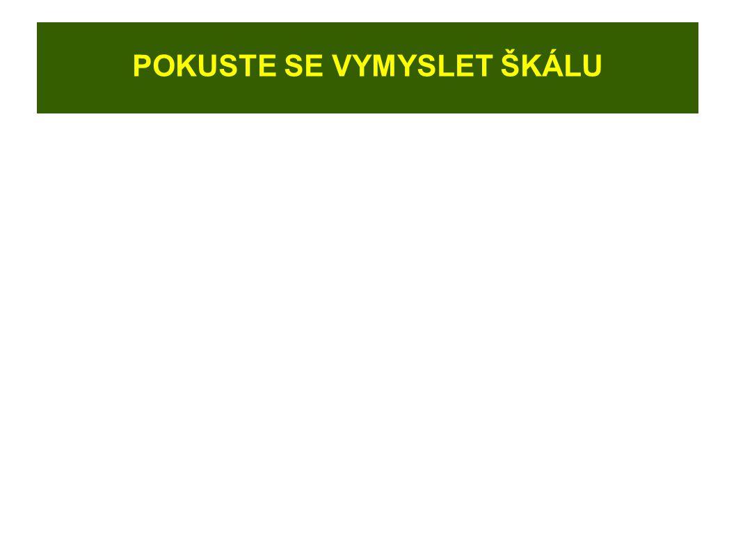 TYPY ŠKÁL POŘADOVÁ ŠKÁLA: Např.: Uveďte pořadí oblíbenosti předmětů.