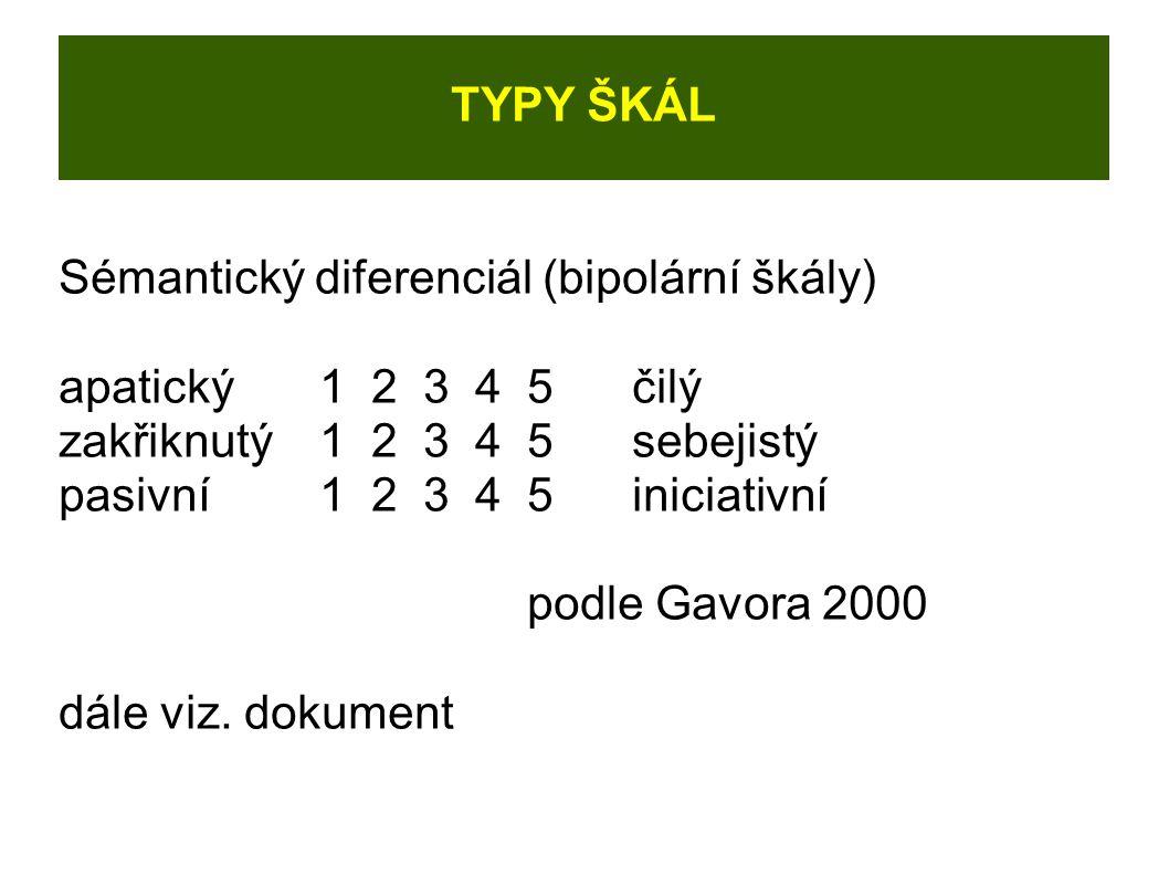 TYPY ŠKÁL Sémantický diferenciál (bipolární škály) apatický12345 čilý zakřiknutý12345sebejistý pasivní1 2345iniciativní podle Gavora 2000 dále viz.