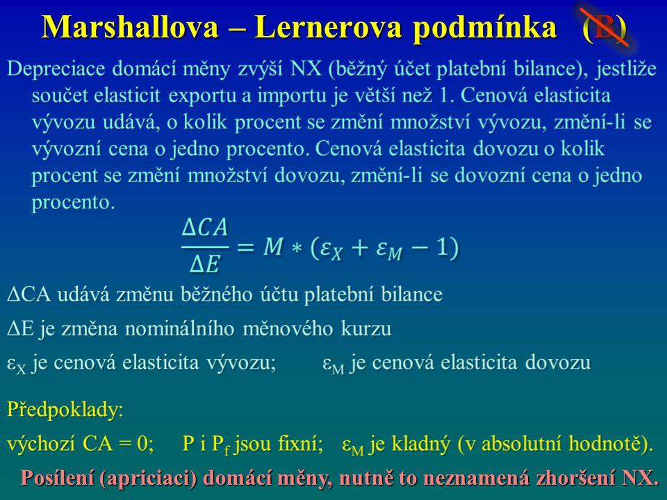 Marshallova – Lernerova podmínka (B) Posílení (apriciaci) domácí měny, nutně to neznamená zhoršení NX.