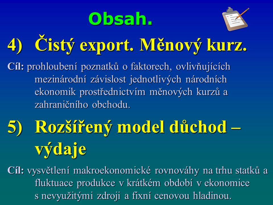 Obsah. 4)Čistý export. Měnový kurz. Cíl: prohloubení poznatků o faktorech, ovlivňujících mezinárodní závislost jednotlivých národních ekonomik prostře