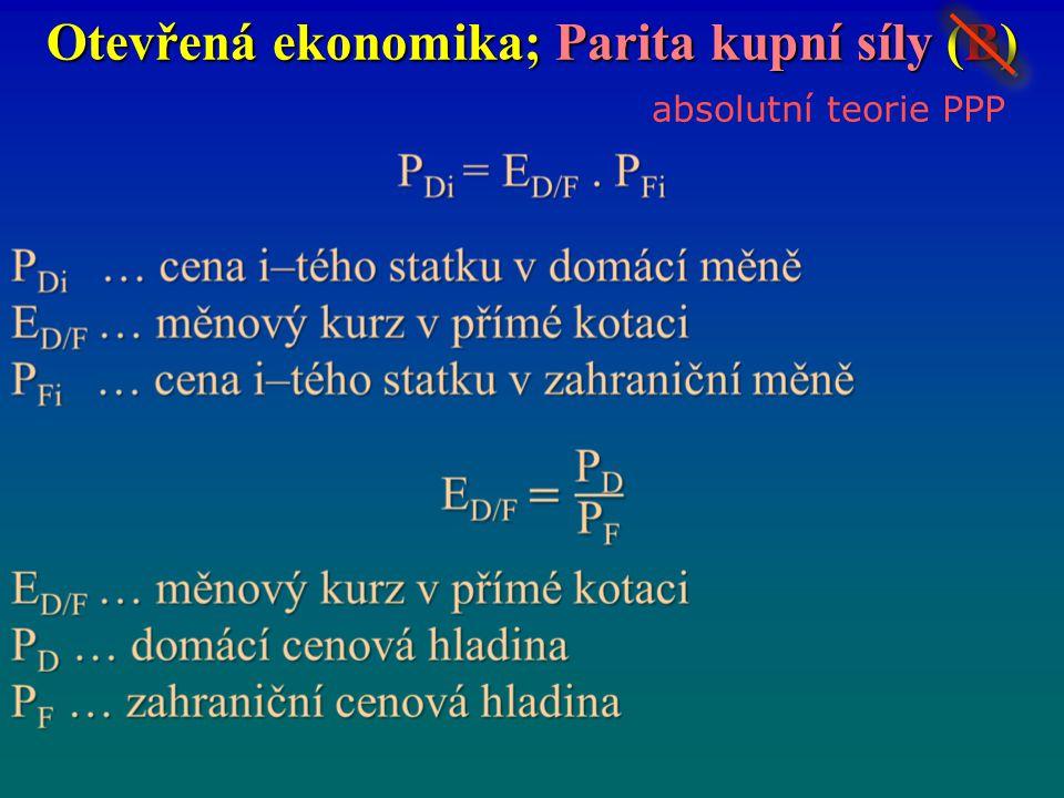 Otevřená ekonomika; Parita kupní síly (B) absolutní teorie PPP