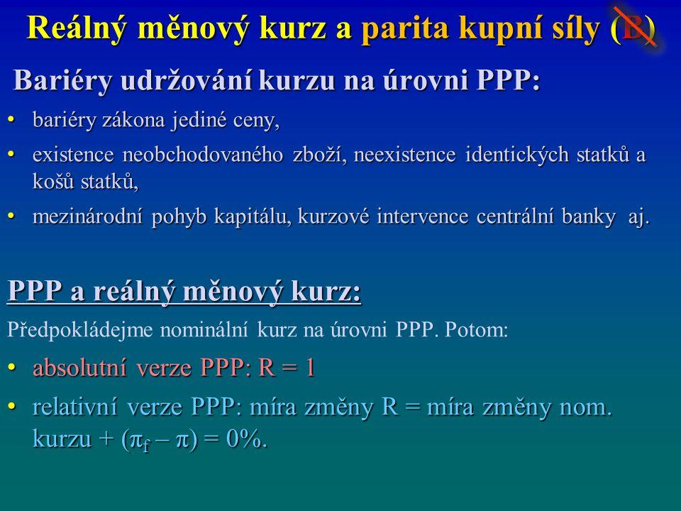 Reálný měnový kurz a parita kupní síly (B) Bariéry udržování kurzu na úrovni PPP: bariéry zákona jediné ceny, bariéry zákona jediné ceny, existence ne