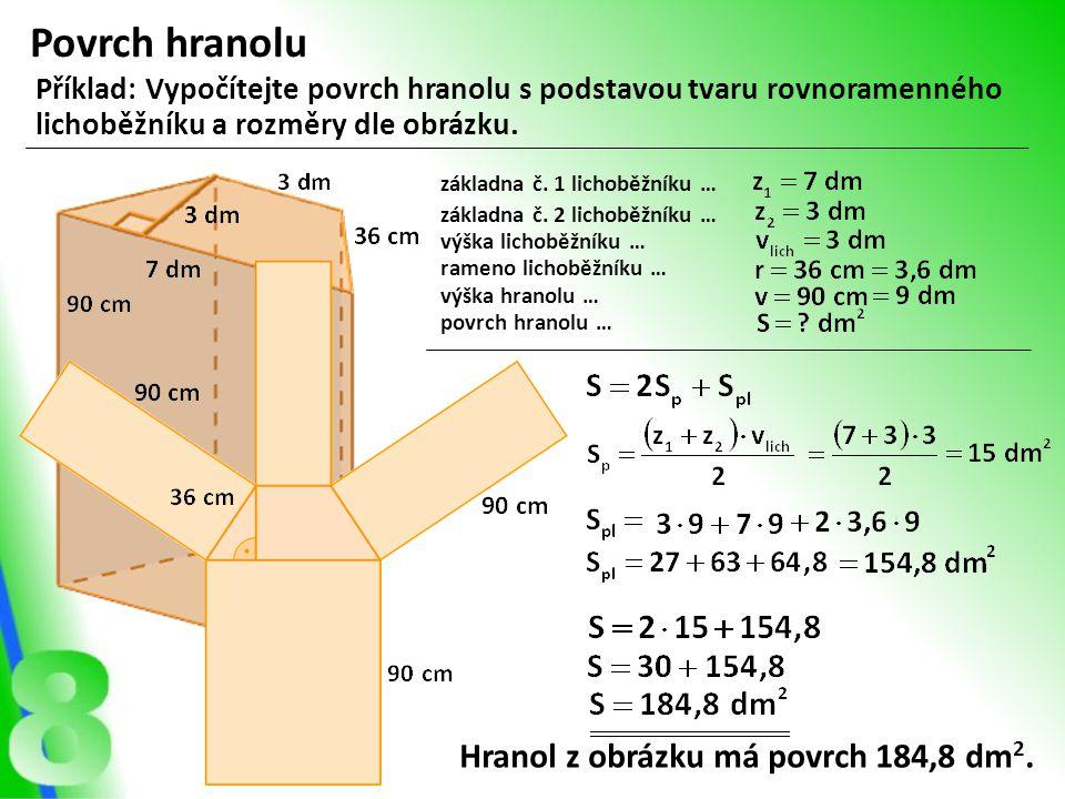 Povrch hranolu Příklad: Vypočítejte povrch hranolu s podstavou tvaru rovnoramenného lichoběžníku a rozměry dle obrázku. základna č. 1 lichoběžníku … z