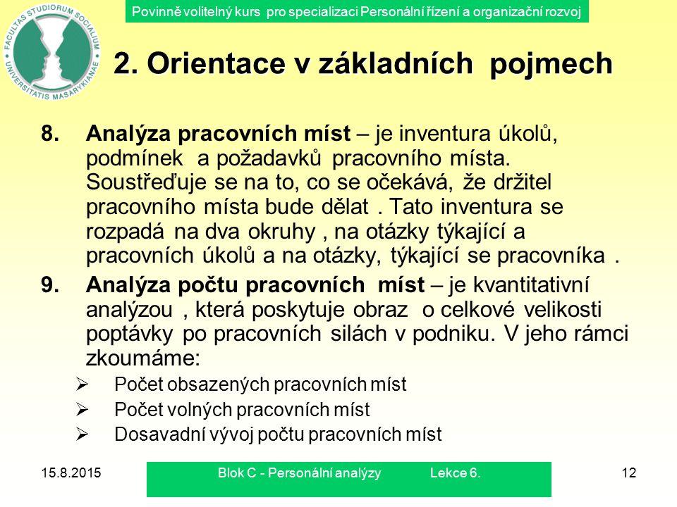 Povinně volitelný kurs pro specializaci Personální řízení a organizační rozvoj 15.8.2015Blok C - Personální analýzy Lekce 6.12 2. Orientace v základní