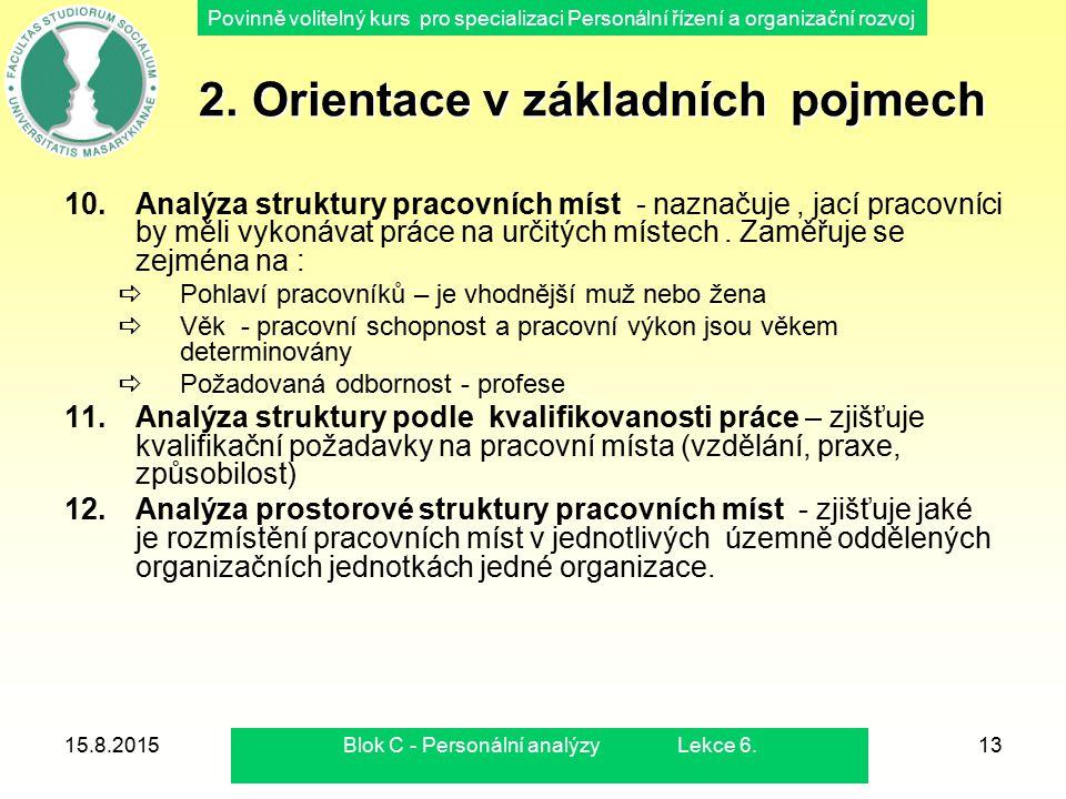 Povinně volitelný kurs pro specializaci Personální řízení a organizační rozvoj 15.8.2015Blok C - Personální analýzy Lekce 6.13 2. Orientace v základní