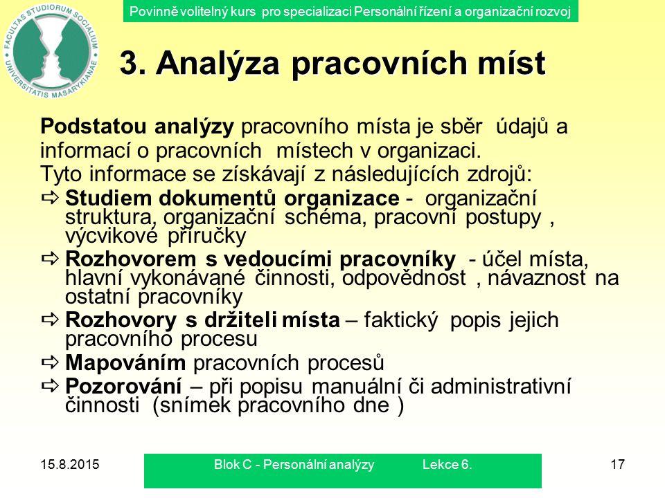 Povinně volitelný kurs pro specializaci Personální řízení a organizační rozvoj 15.8.2015Blok C - Personální analýzy Lekce 6.17 3. Analýza pracovních m
