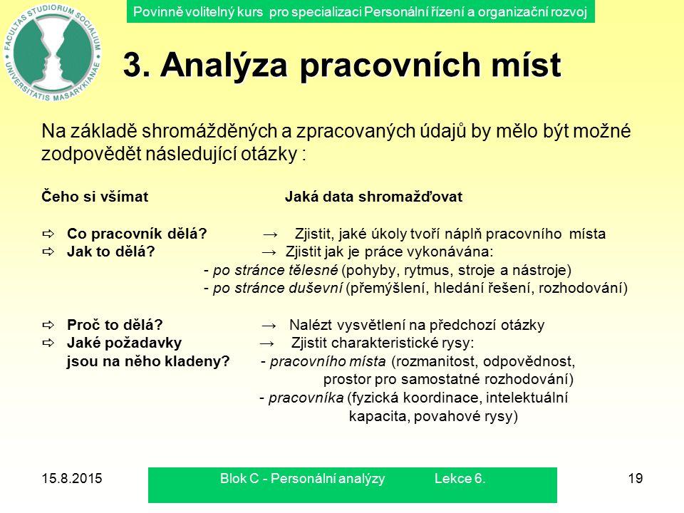 Povinně volitelný kurs pro specializaci Personální řízení a organizační rozvoj 15.8.2015Blok C - Personální analýzy Lekce 6.19 3. Analýza pracovních m