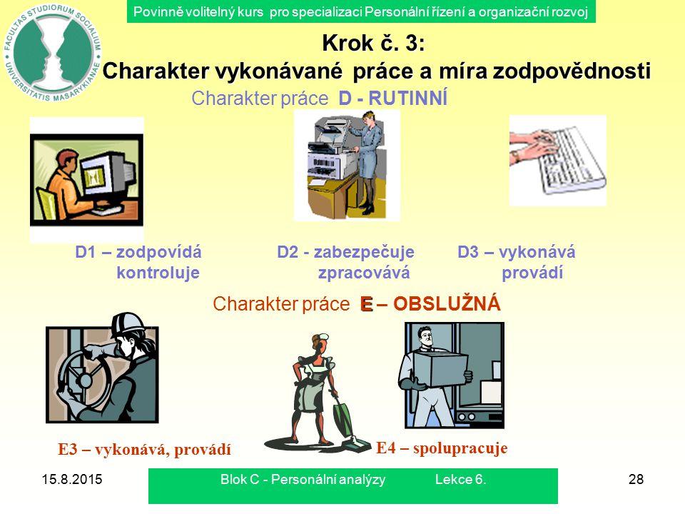 Povinně volitelný kurs pro specializaci Personální řízení a organizační rozvoj 15.8.2015Blok C - Personální analýzy Lekce 6.28 Charakter práce D - RUT