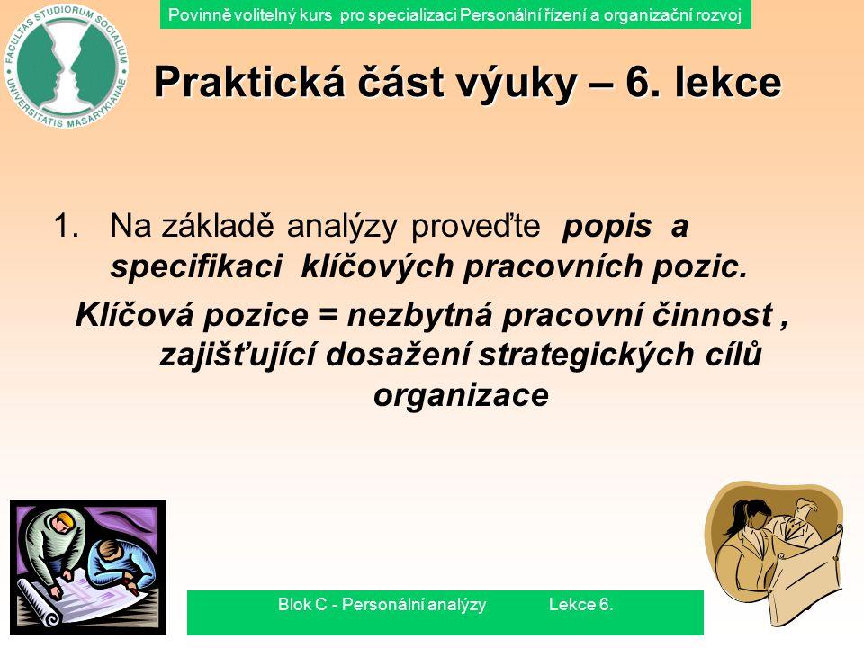 Povinně volitelný kurs pro specializaci Personální řízení a organizační rozvoj 15.8.2015Blok C - Personální analýzy Lekce 6.49 Praktická část výuky –
