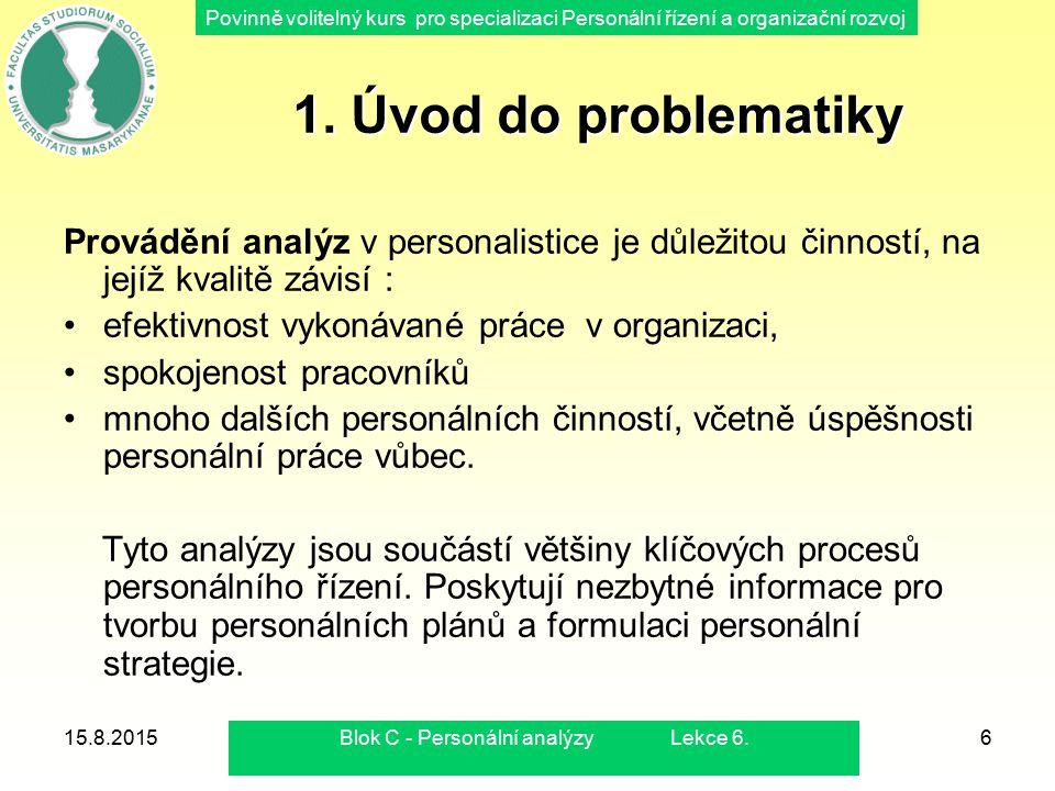 Povinně volitelný kurs pro specializaci Personální řízení a organizační rozvoj 15.8.2015Blok C - Personální analýzy Lekce 6.6 1. Úvod do problematiky