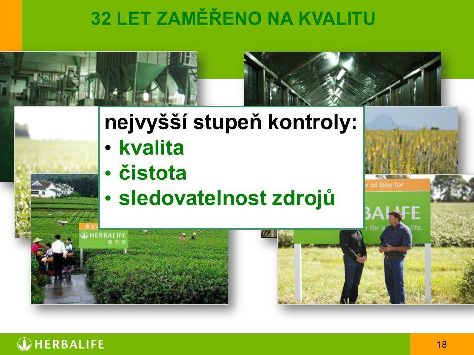 18 32 LET ZAMĚŘENO NA KVALITU nejvyšší stupeň kontroly: kvalita čistota sledovatelnost zdrojů