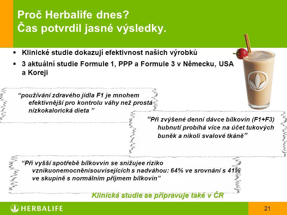 21 Proč Herbalife dnes? Čas potvrdil jasné výsledky.  Klinické studie dokazují efektivnost našich výrobků  3 aktuální studie Formule 1, PPP a Formul