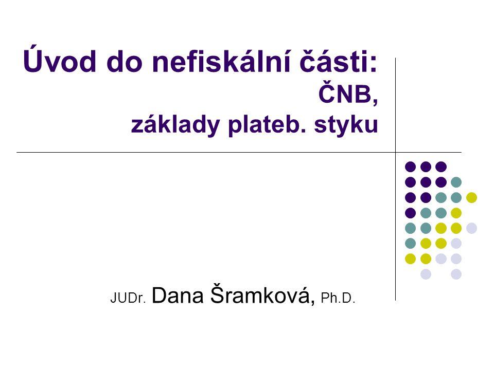 Úvod do nefiskální části: ČNB, základy plateb. styku JUDr. Dana Šramková, Ph.D.