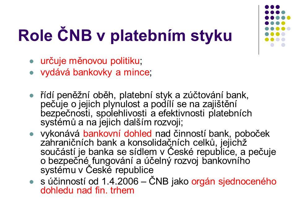 Role ČNB v platebním styku určuje měnovou politiku; vydává bankovky a mince; řídí peněžní oběh, platební styk a zúčtování bank, pečuje o jejich plynulost a podílí se na zajištění bezpečnosti, spolehlivosti a efektivnosti platebních systémů a na jejich dalším rozvoji; vykonává bankovní dohled nad činností bank, poboček zahraničních bank a konsolidačních celků, jejichž součástí je banka se sídlem v České republice, a pečuje o bezpečné fungování a účelný rozvoj bankovního systému v České republice s účinností od 1.4.2006 – ČNB jako orgán sjednoceného dohledu nad fin.