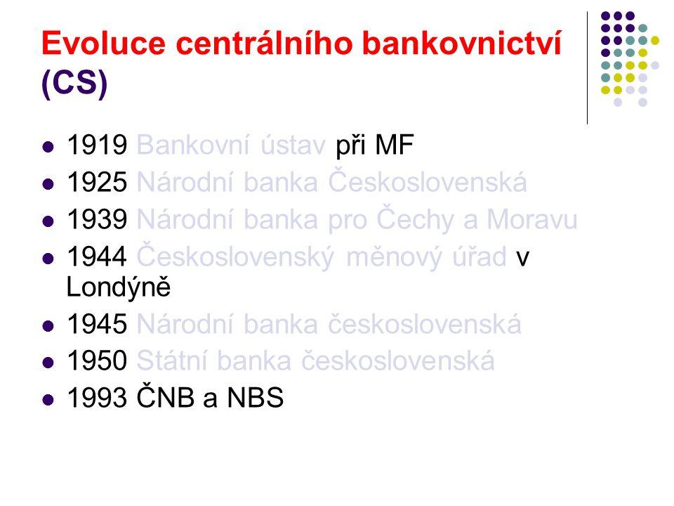 Internetové zdroje Česká národní banka: http://www.cnb.cz, zejména:http://www.cnb.cz http://www.cnb.cz/cs/platidla/ http://www.cnb.cz/cs/platebni_styk/ Evropská centrální banka: http://www.ecb.inthttp://www.ecb.int Česká bankovní asociace: http://www.czech-ba.cz/ (zde též od 1.11.2009 platný Kodex ČBA Mobilita klientů - postupy při změně banky).http://www.czech-ba.cz/ Tzv.