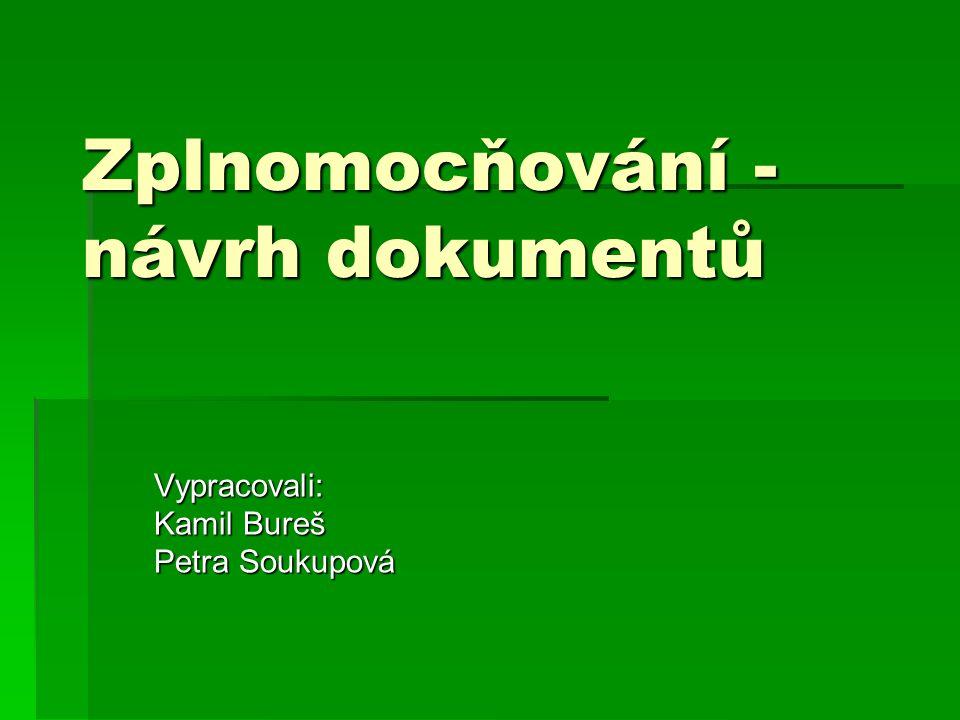 Zplnomocňování - návrh dokumentů Vypracovali: Kamil Bureš Petra Soukupová