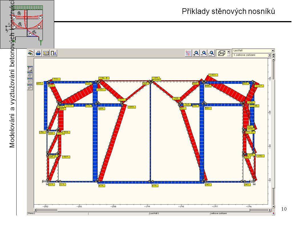 10 Příklady stěnových nosníků Modelování a vyztužování betonových konstrukcí