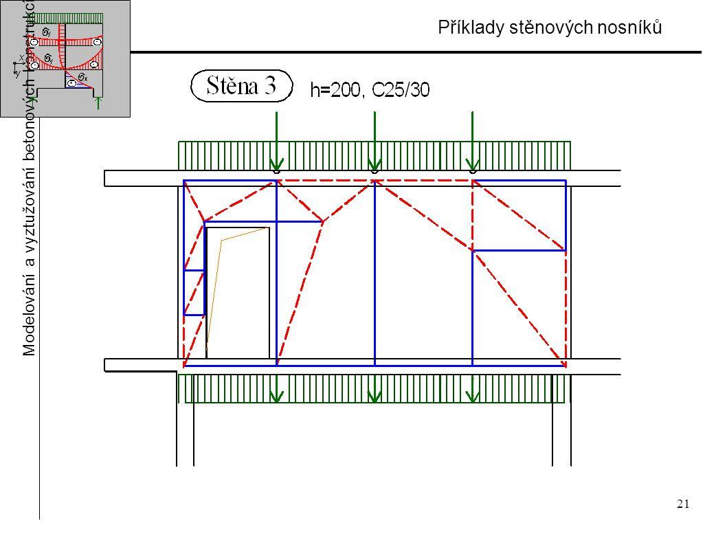 21 Příklady stěnových nosníků Modelování a vyztužování betonových konstrukcí