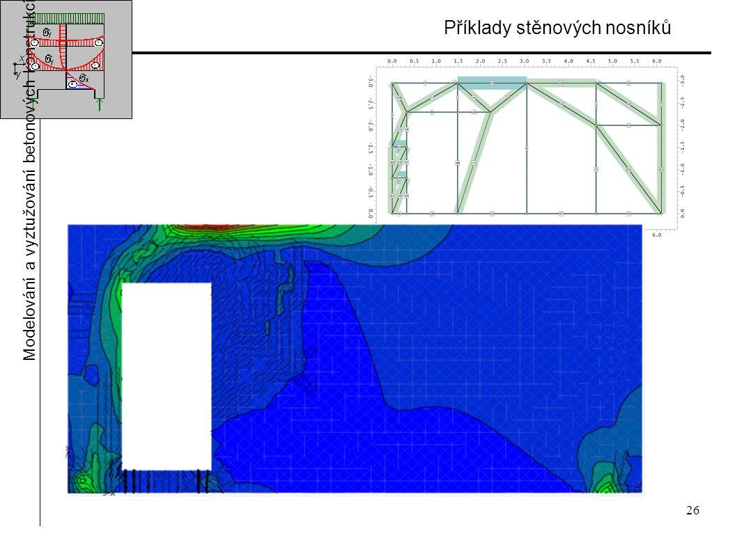 26 Příklady stěnových nosníků Modelování a vyztužování betonových konstrukcí