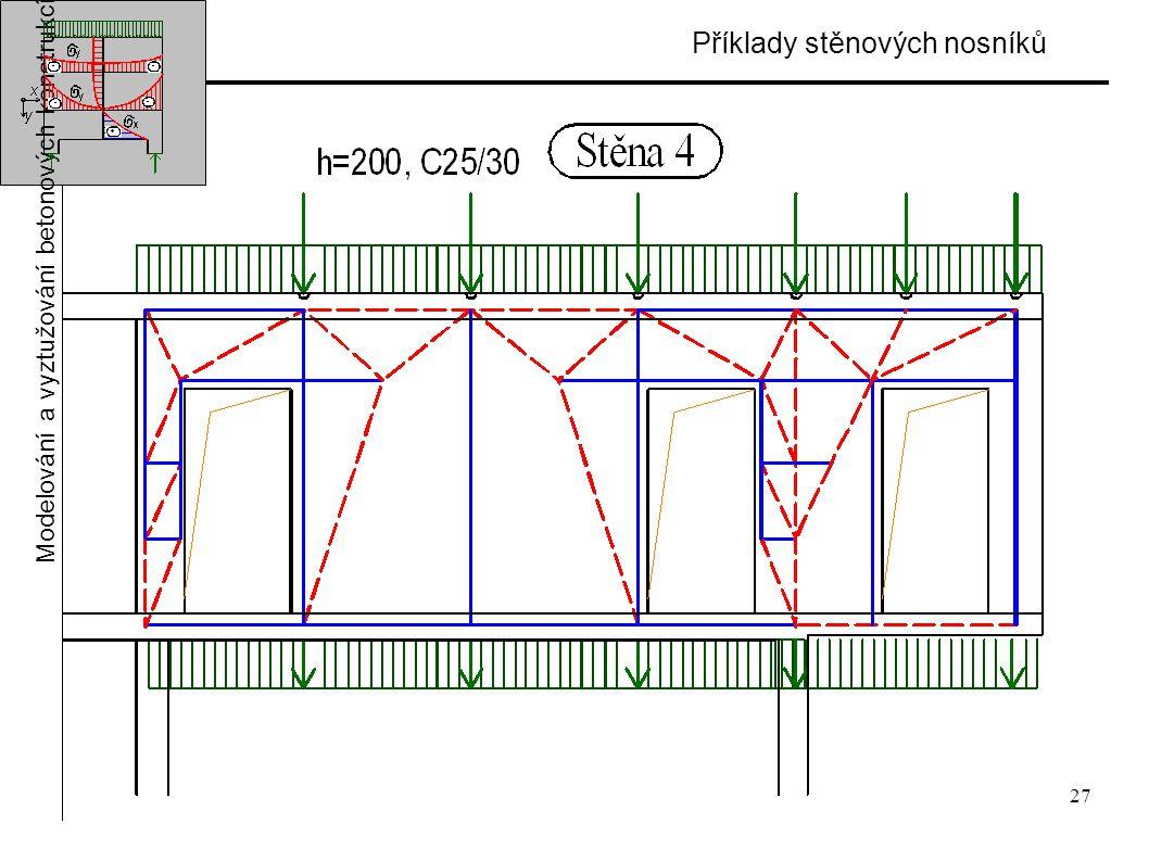 27 Příklady stěnových nosníků Modelování a vyztužování betonových konstrukcí
