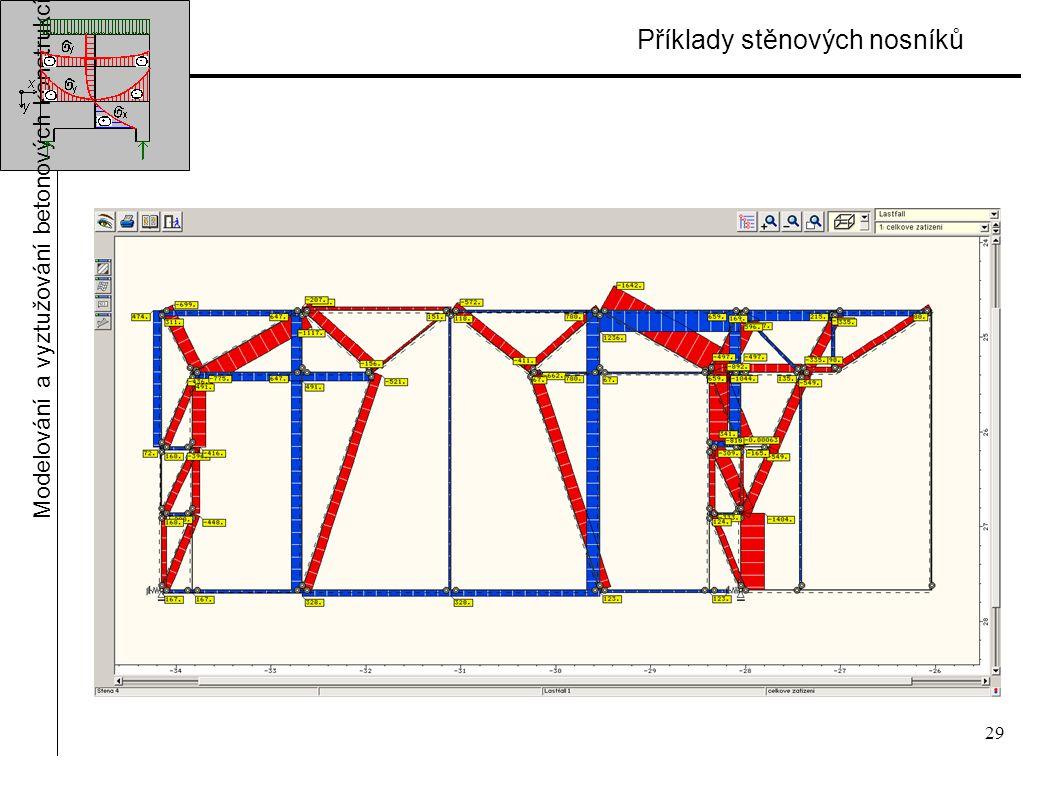 29 Příklady stěnových nosníků Modelování a vyztužování betonových konstrukcí