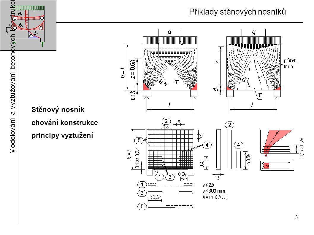 3 Příklady stěnových nosníků Modelování a vyztužování betonových konstrukcí Stěnový nosník chování konstrukce principy vyztužení