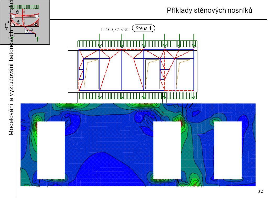 32 Příklady stěnových nosníků Modelování a vyztužování betonových konstrukcí