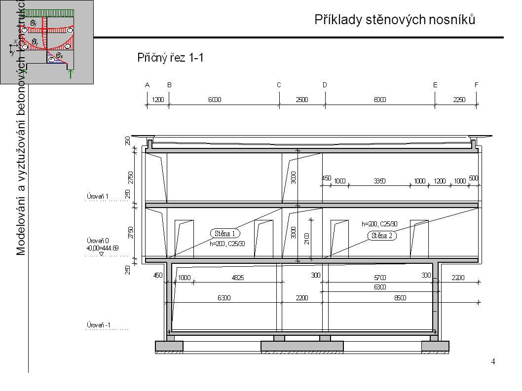 4 Příklady stěnových nosníků Modelování a vyztužování betonových konstrukcí