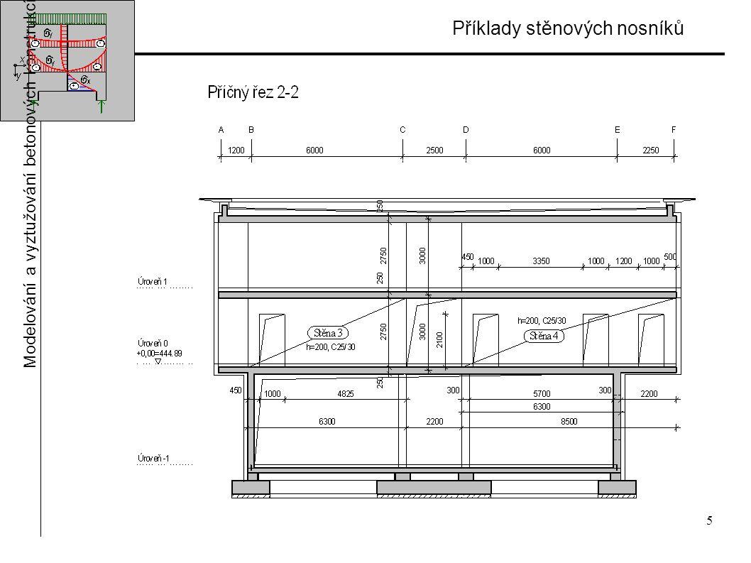 5 Příklady stěnových nosníků Modelování a vyztužování betonových konstrukcí