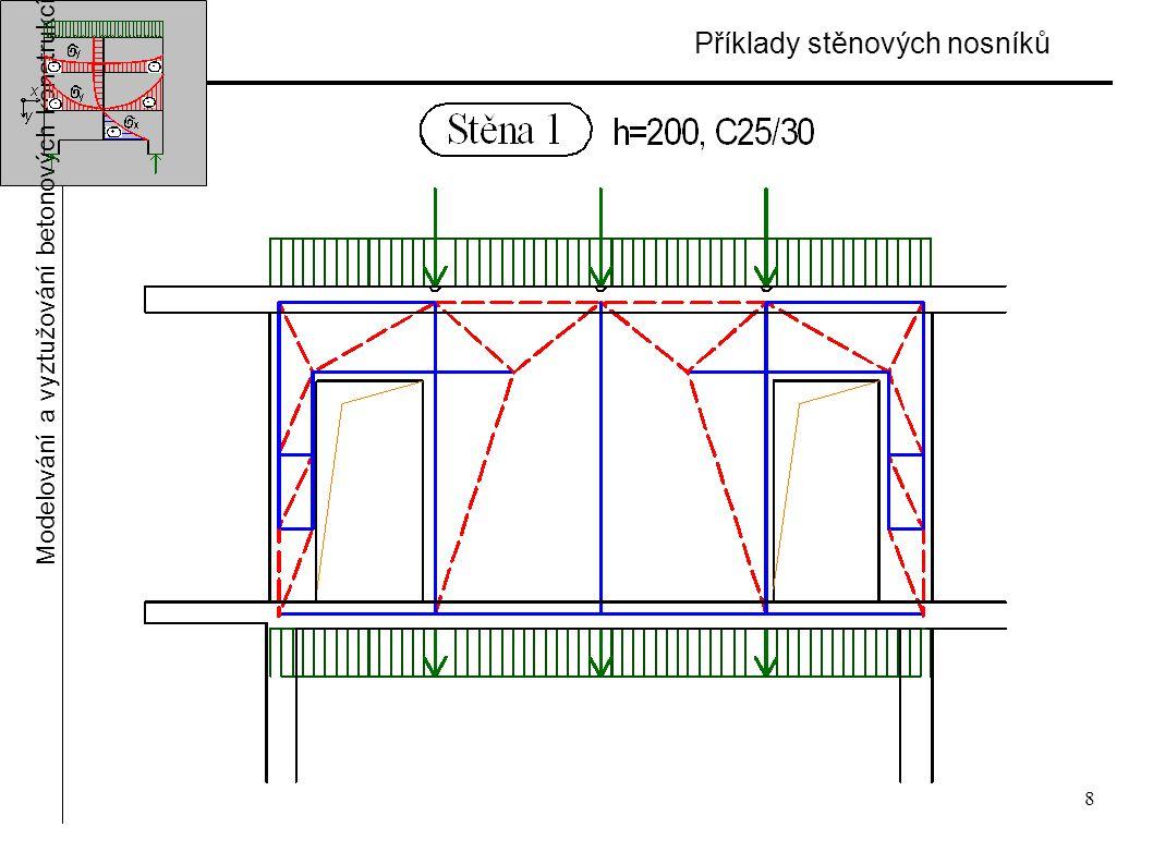 8 Příklady stěnových nosníků Modelování a vyztužování betonových konstrukcí