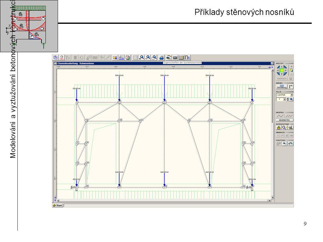 9 Příklady stěnových nosníků Modelování a vyztužování betonových konstrukcí