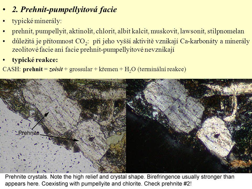 2. Prehnit-pumpellyitová facie typické minerály: prehnit, pumpellyit, aktinolit, chlorit, albit kalcit, muskovit, lawsonit, stilpnomelan důležitá je p