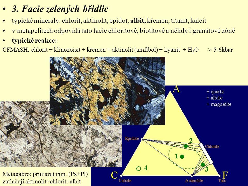 3. Facie zelených břidlic typické minerály: chlorit, aktinolit, epidot, albit, křemen, titanit, kalcit v metapelitech odpovídá tato facie chloritové,