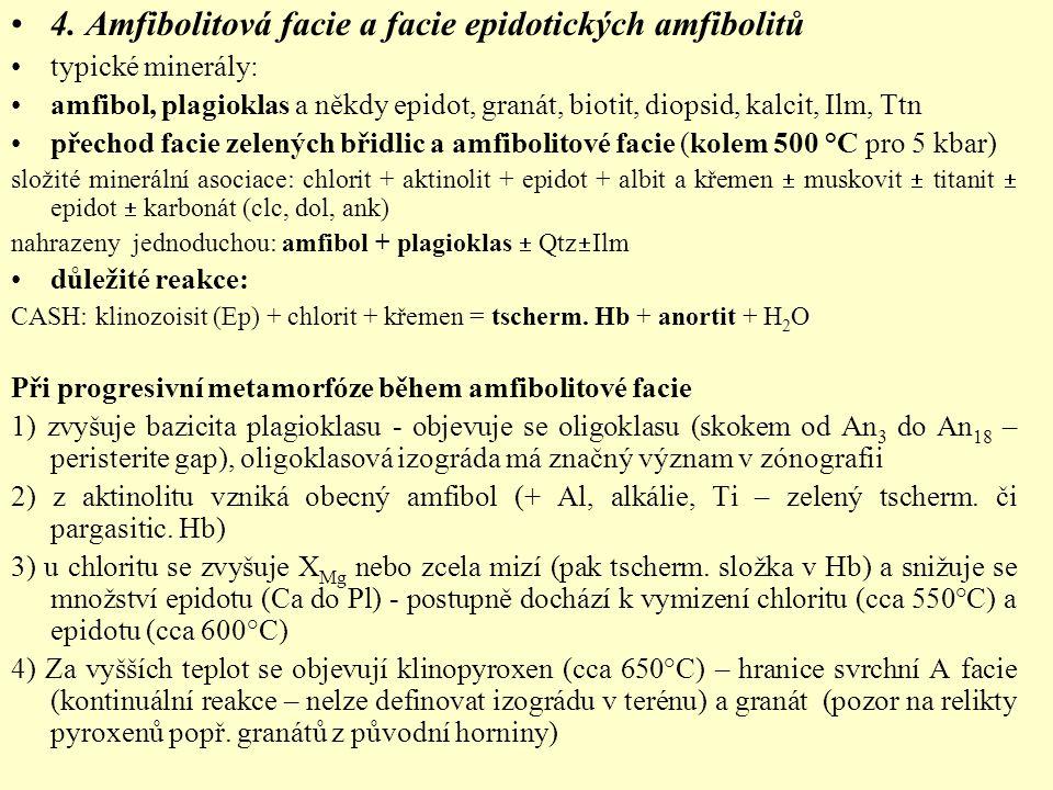 4. Amfibolitová facie a facie epidotických amfibolitů typické minerály: amfibol, plagioklas a někdy epidot, granát, biotit, diopsid, kalcit, Ilm, Ttn