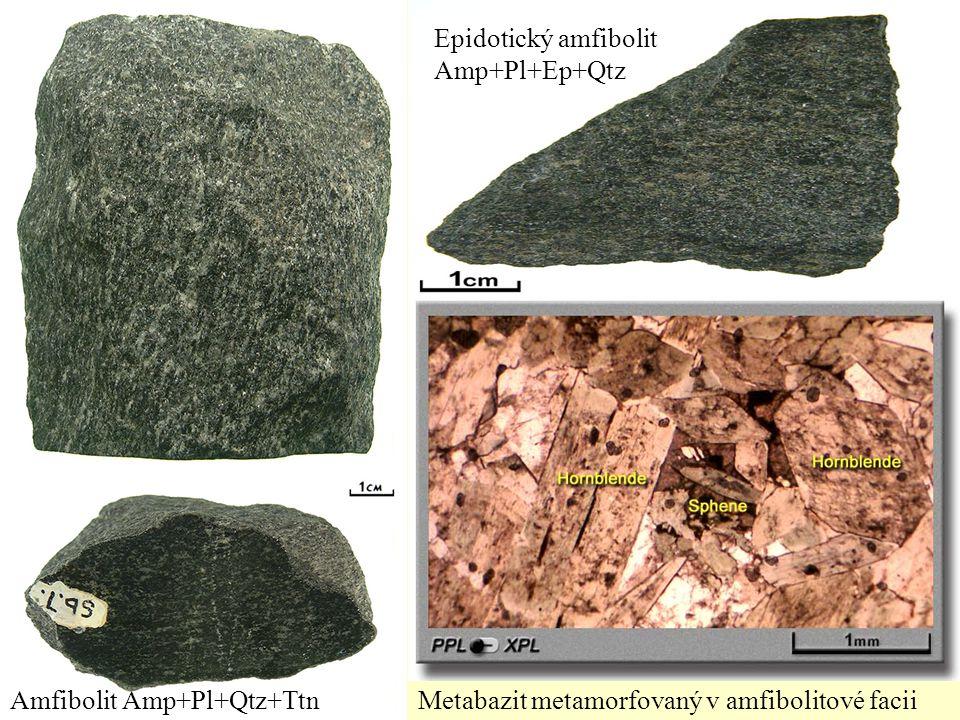 Amfibolit Amp+Pl+Qtz+TtnMetabazit metamorfovaný v amfibolitové facii Epidotický amfibolit Amp+Pl+Ep+Qtz