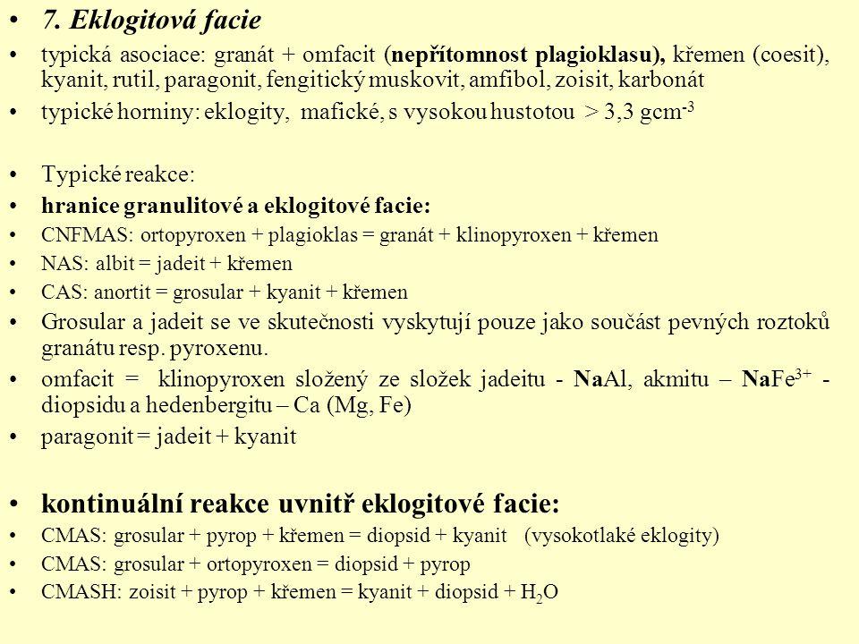 7. Eklogitová facie typická asociace: granát + omfacit (nepřítomnost plagioklasu), křemen (coesit), kyanit, rutil, paragonit, fengitický muskovit, amf