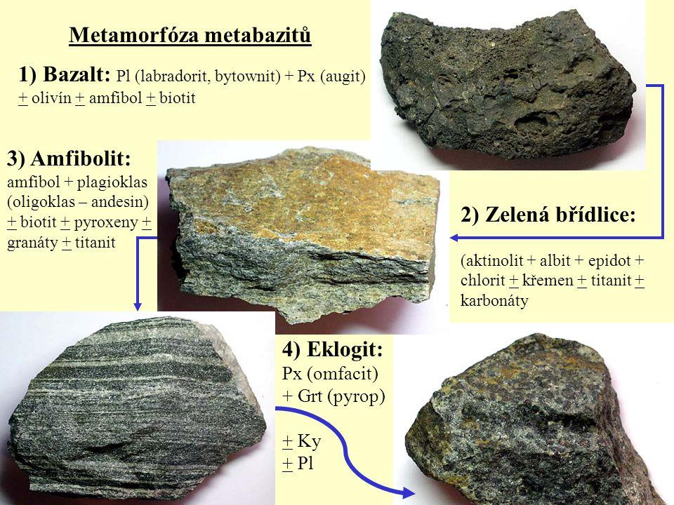 Metamorfóza metabazitů 1) Bazalt: Pl (labradorit, bytownit) + Px (augit) + olivín + amfibol + biotit 2) Zelená břídlice: (aktinolit + albit + epidot +