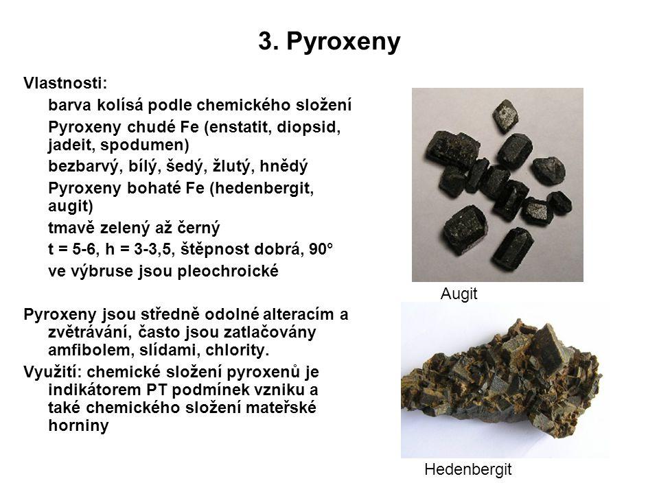 3. Pyroxeny Vlastnosti: barva kolísá podle chemického složení Pyroxeny chudé Fe (enstatit, diopsid, jadeit, spodumen) bezbarvý, bílý, šedý, žlutý, hně