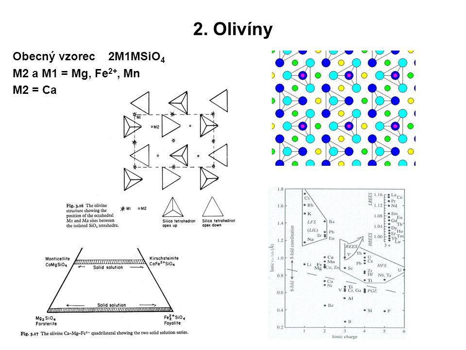 2. Olivíny Obecný vzorec 2M1MSiO 4 M2 a M1 = Mg, Fe 2+, Mn M2 = Ca