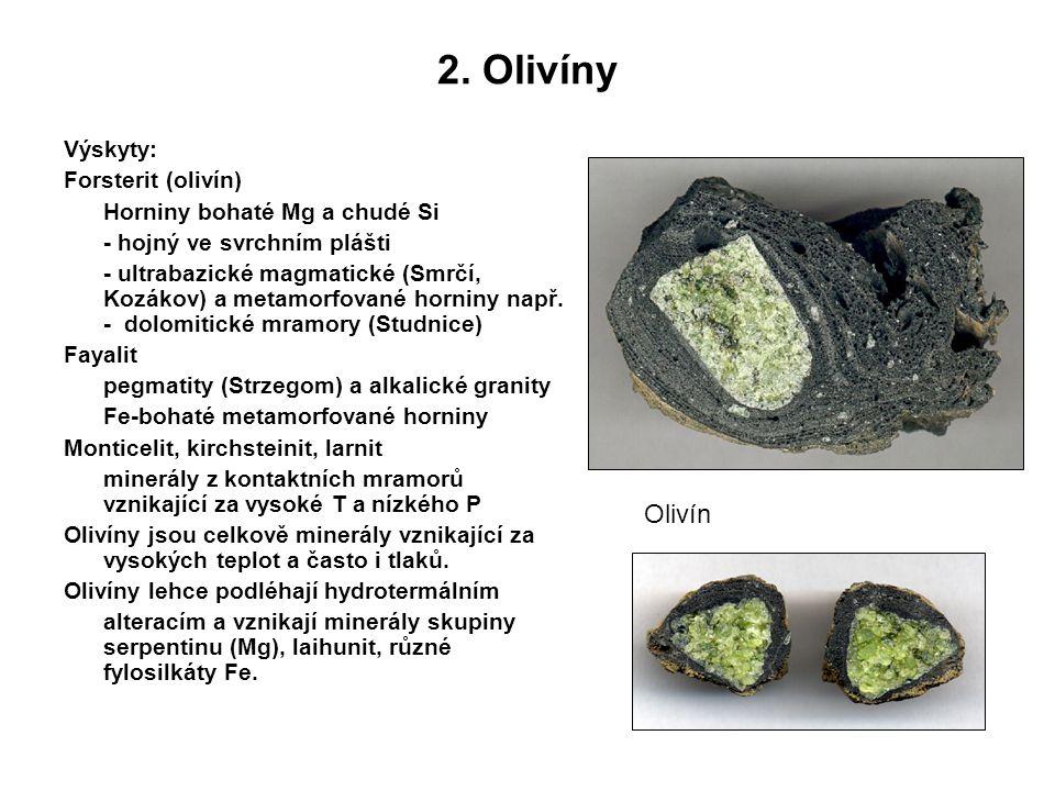 2. Olivíny Výskyty: Forsterit (olivín) Horniny bohaté Mg a chudé Si - hojný ve svrchním plášti - ultrabazické magmatické (Smrčí, Kozákov) a metamorfov