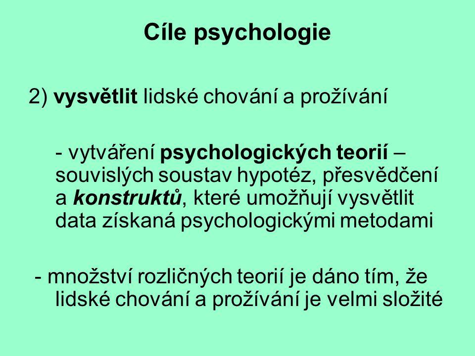 Cíle psychologie 2) vysvětlit lidské chování a prožívání - vytváření psychologických teorií – souvislých soustav hypotéz, přesvědčení a konstruktů, kt