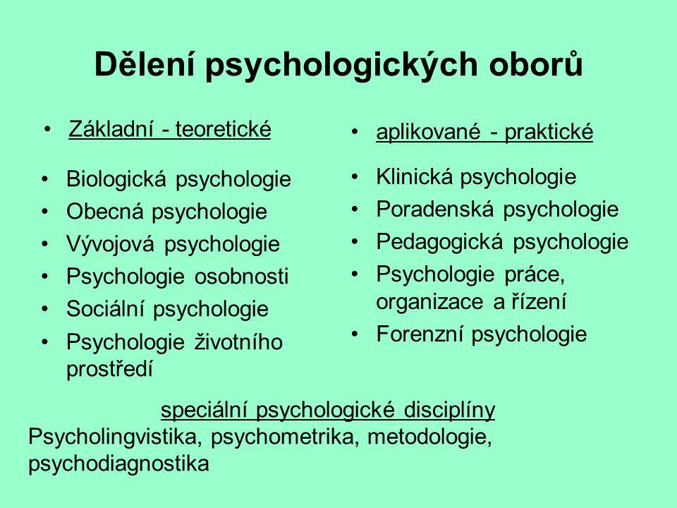 Dělení psychologických oborů Základní - teoretické Biologická psychologie Obecná psychologie Vývojová psychologie Psychologie osobnosti Sociální psych