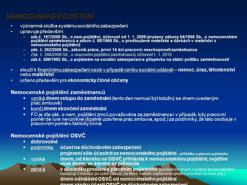 NEMOCENSKÉ POJIŠTĚNÍ NEMOCENSKÉ POJIŠTĚNÍ významná složka systému sociálního zabezpečení upravuje především: –zák.č. 187/2006 Sb., o nem.pojištění, úč