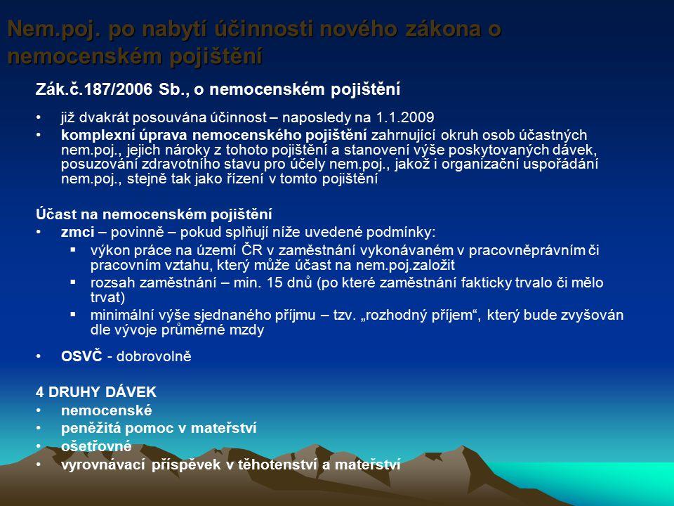 Zák.č.187/2006 Sb., o nemocenském pojištění již dvakrát posouvána účinnost – naposledy na 1.1.2009 komplexní úprava nemocenského pojištění zahrnující