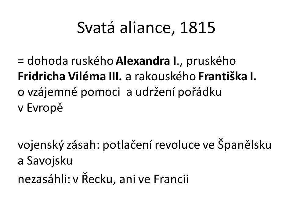Svatá aliance, 1815 = dohoda ruského Alexandra I., pruského Fridricha Viléma III.