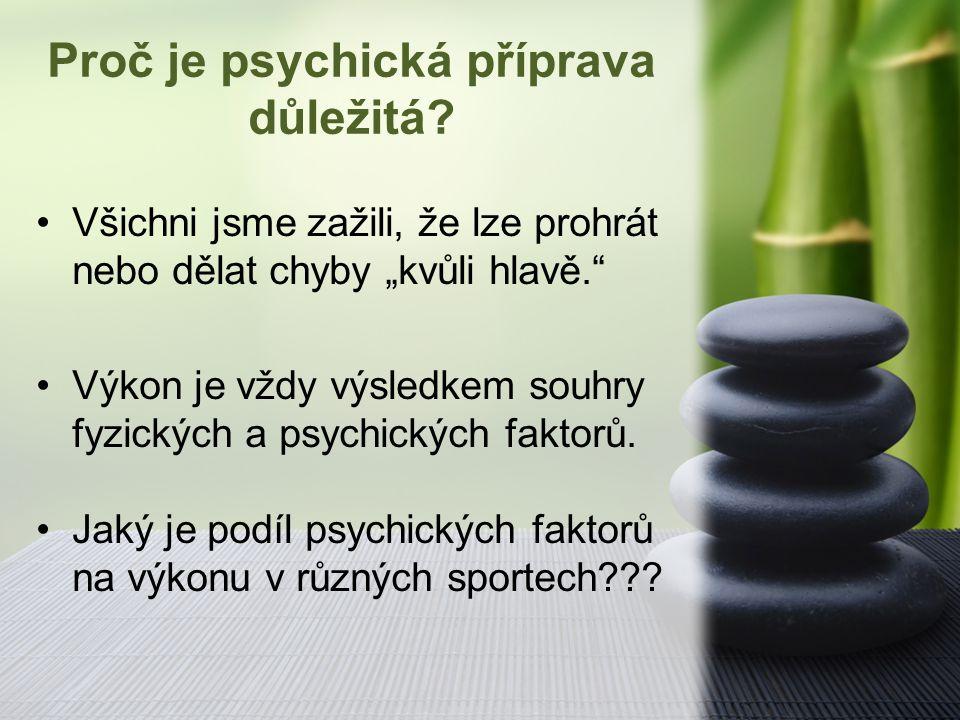 """Proč je psychická příprava důležitá? Všichni jsme zažili, že lze prohrát nebo dělat chyby """"kvůli hlavě."""" Výkon je vždy výsledkem souhry fyzických a ps"""