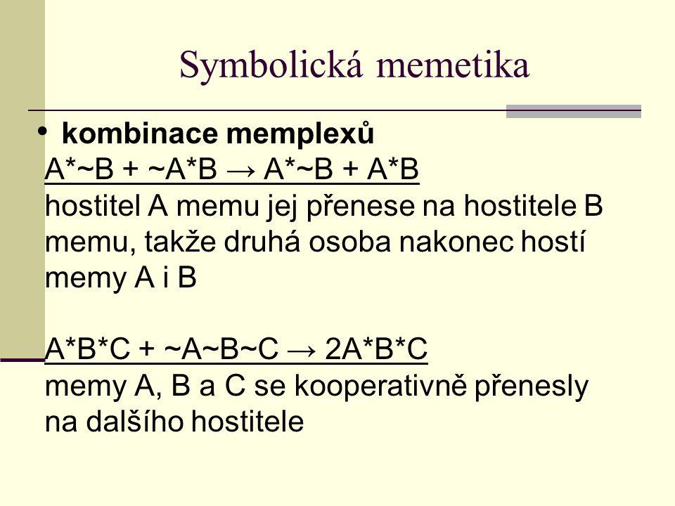Symbolická memetika kombinace memplexů A*~B + ~A*B → A*~B + A*B hostitel A memu jej přenese na hostitele B memu, takže druhá osoba nakonec hostí memy A i B A*B*C + ~A~B~C → 2A*B*C memy A, B a C se kooperativně přenesly na dalšího hostitele