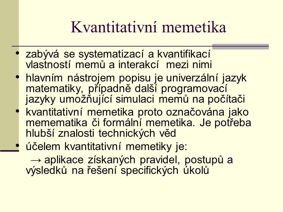 Kvantitativní memetika zabývá se systematizací a kvantifikací vlastností memů a interakcí mezi nimi hlavním nástrojem popisu je univerzální jazyk matematiky, případně další programovací jazyky umožňující simulaci memů na počítači kvantitativní memetika proto označována jako memematika či formální memetika.